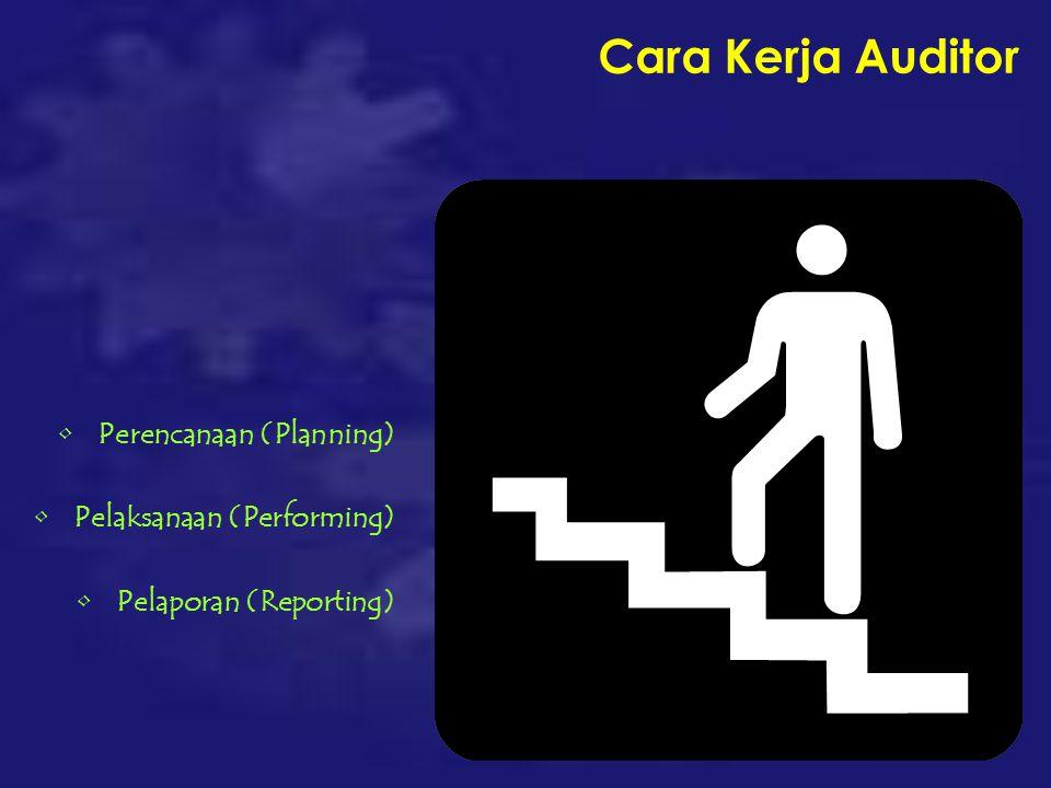 Cara Kerja Auditor Perencanaan (Planning) Pelaksanaan (Performing) Pelaporan (Reporting)