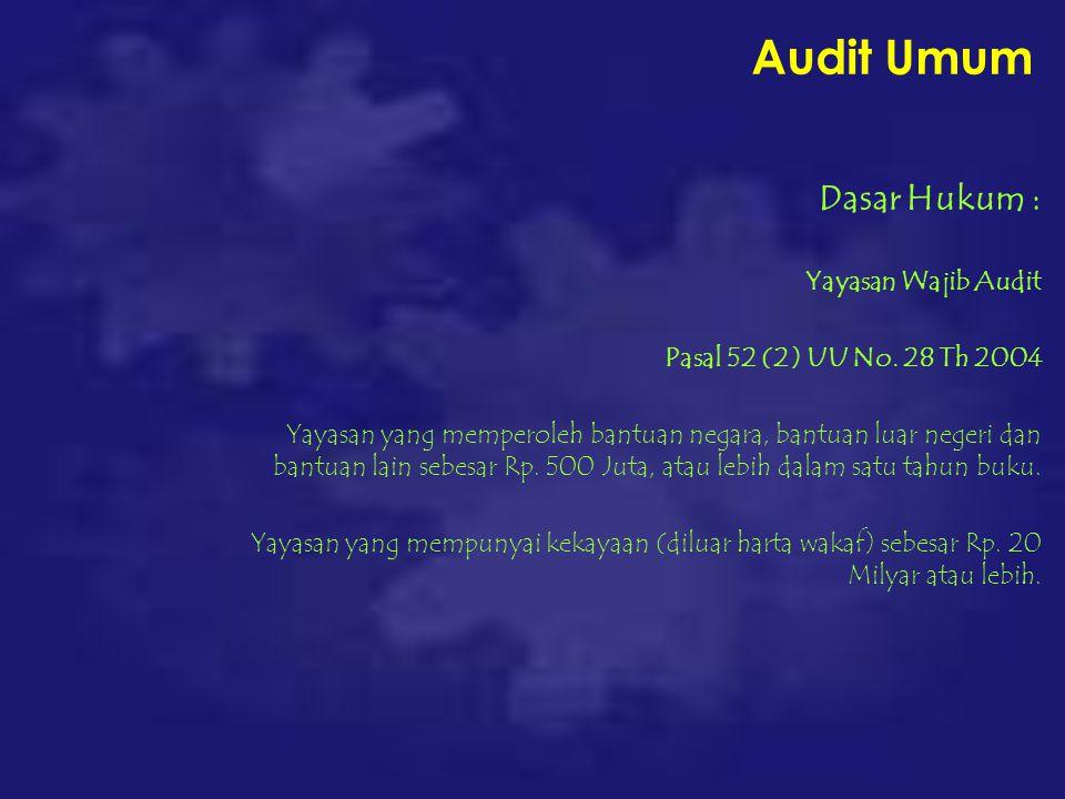 Audit Umum Dasar Hukum : Yayasan Wajib Audit Pasal 52 (2) UU No.