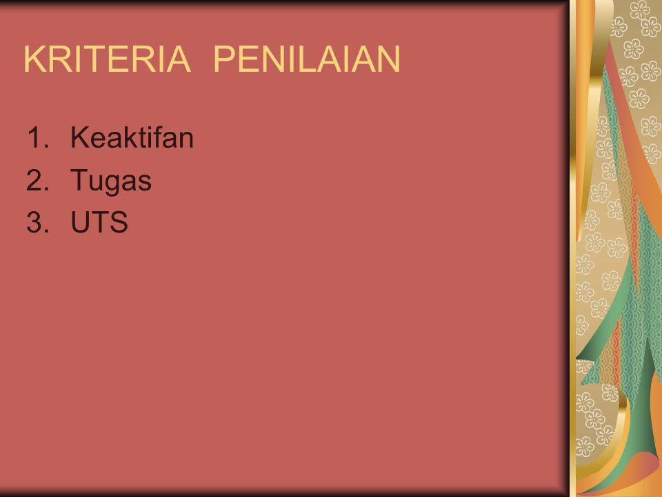 KRITERIA PENILAIAN 1.Keaktifan 2.Tugas 3.UTS