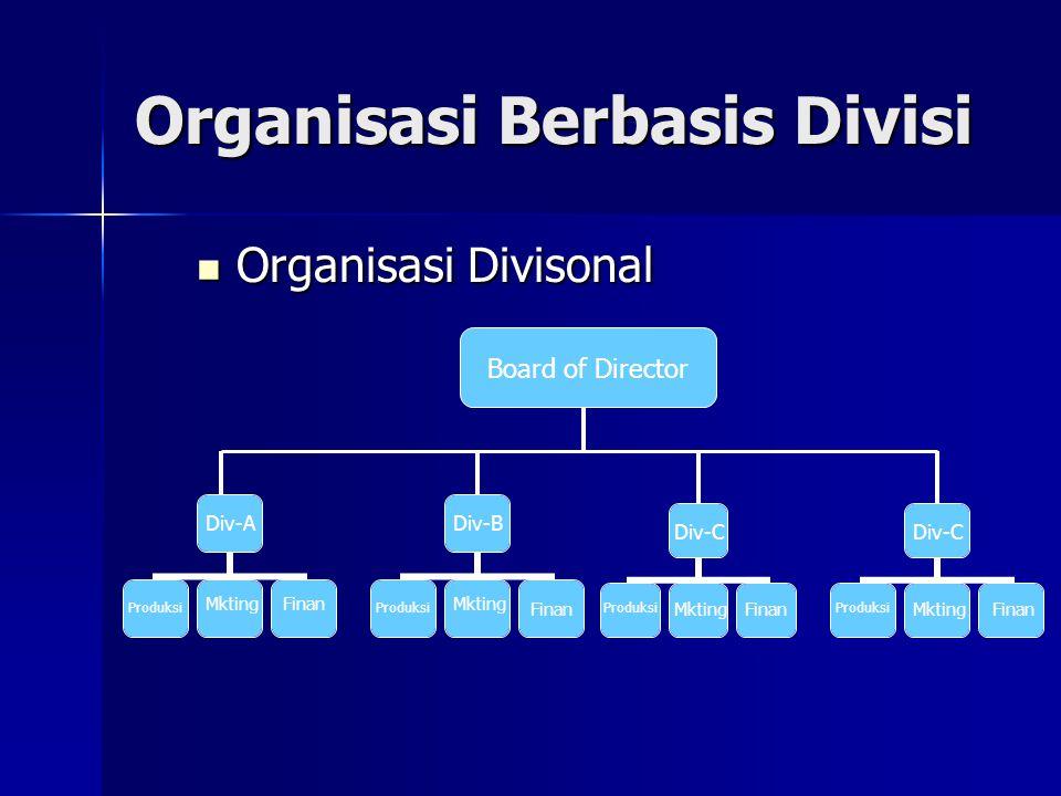 Organisasi Berbasis Divisi Organisasi Divisonal Organisasi Divisonal Board of Director Div-A Div-B Div-C Produksi Mkting Finan