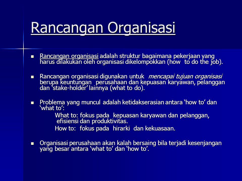 Rancangan Organisasi Rancangan organisasi adalah struktur bagaimana pekerjaan yang harus dilakukan oleh organisasi dikelompokkan (how to do the job).