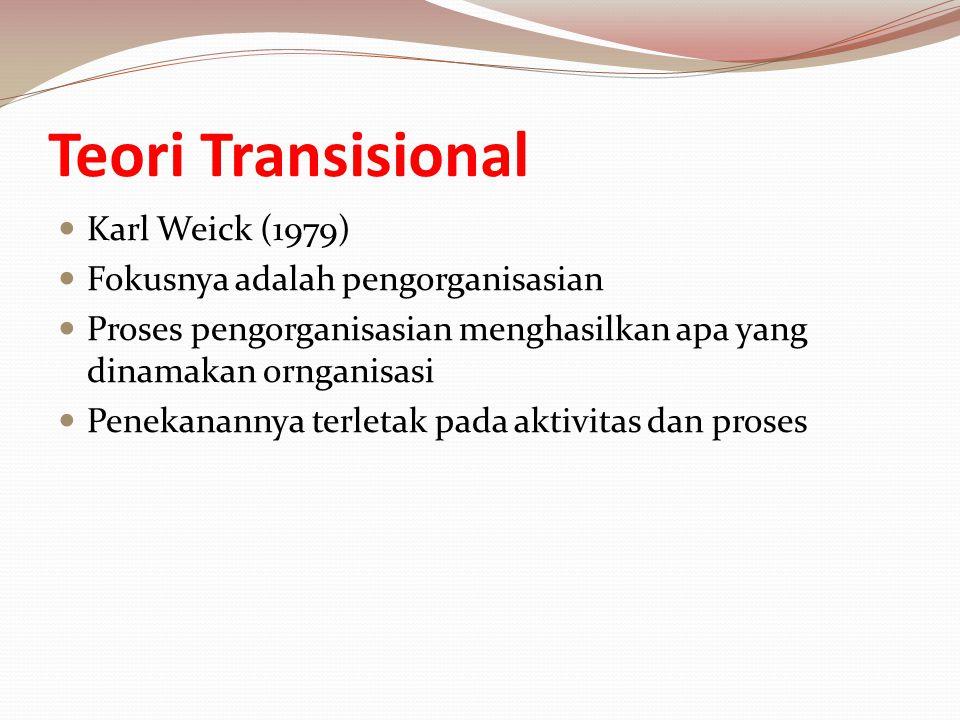 Teori Transisional Karl Weick (1979) Fokusnya adalah pengorganisasian Proses pengorganisasian menghasilkan apa yang dinamakan ornganisasi Penekanannya