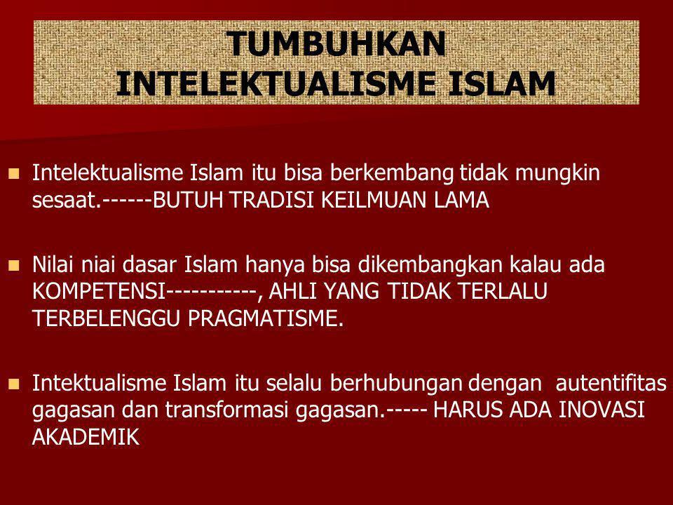 TUMBUHKAN INTELEKTUALISME ISLAM Intelektualisme Islam itu bisa berkembang tidak mungkin sesaat.------BUTUH TRADISI KEILMUAN LAMA Nilai niai dasar Isla