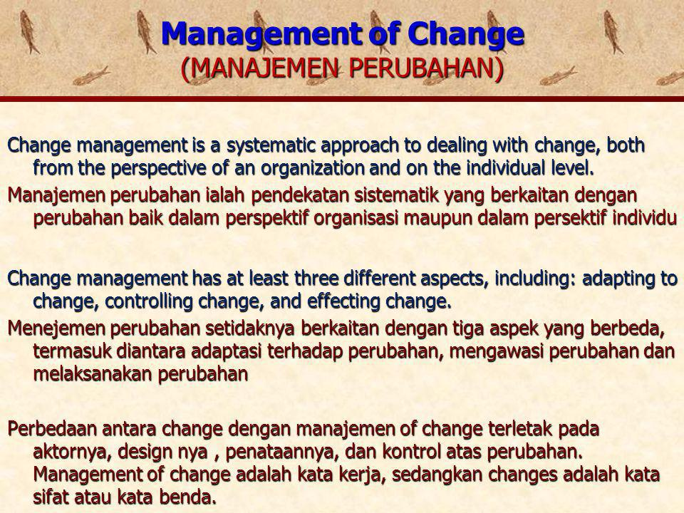 TIPE PERUBAHAN MENURUT NOLAN (2001) PARTICIPATIVE EVOLUTION BERJALAN PERLAHAN, EVOLUTIVE, BERJENJANG CHARISMATIC TRANSFORMATION TRANSFORMASI YANG DITUNTUN OLEH CHARISMA, CONTOH DI INDIA MASA MAHATMA GANDHI FORCED EVOLUTION PERUBAHAN BERKALA YANG DIPAKSAKAN, DILAKUKAN SECARA KERAS OLEH PEMIMPIN DICTATORAL TRANSFORMATION PERUBAHAN YANG DILAKUKAN DENGAN TANGAN TUNGGAL DAN DISERTAI DENGAN RESIKO INTERNAL BERUPA PEMECATAN