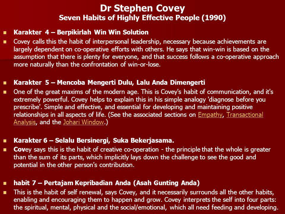 Dr Stephen Covey Seven Habits of Highly Effective People (1990) Karakter 4 – Berpikirlah Win Win Solution Covey calls this the habit of interpersonal leadership, necessary because achievements are largely dependent on co-operative efforts with others.