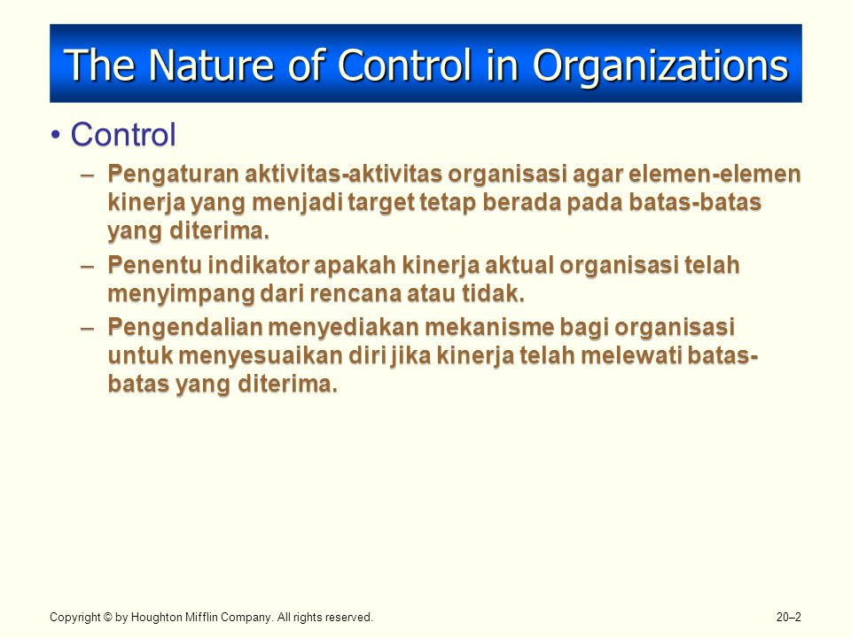 Copyright © by Houghton Mifflin Company. All rights reserved. 20–2 The Nature of Control in Organizations Control –Pengaturan aktivitas-aktivitas orga