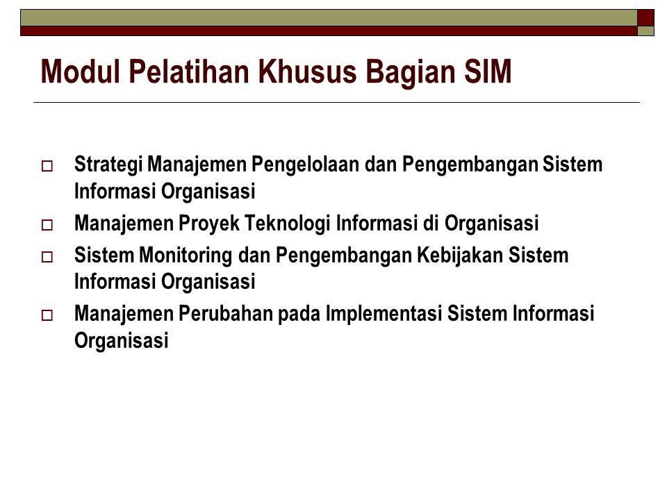 Modul Pelatihan Khusus Bagian SIM  Strategi Manajemen Pengelolaan dan Pengembangan Sistem Informasi Organisasi  Manajemen Proyek Teknologi Informasi