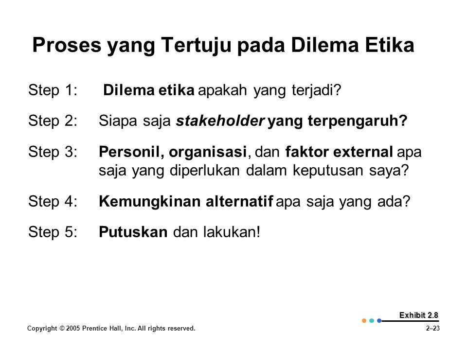 Copyright © 2005 Prentice Hall, Inc. All rights reserved.2–23 Exhibit 2.8 Proses yang Tertuju pada Dilema Etika Step 1: Dilema etika apakah yang terja