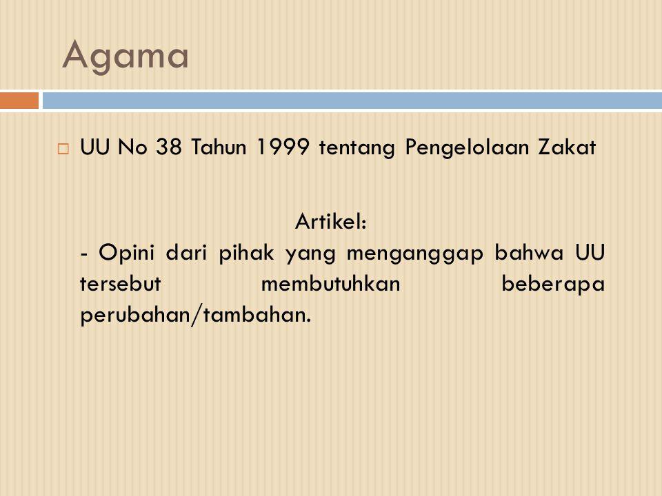 Agama  UU No 38 Tahun 1999 tentang Pengelolaan Zakat Artikel: - Opini dari pihak yang menganggap bahwa UU tersebut membutuhkan beberapa perubahan/tam