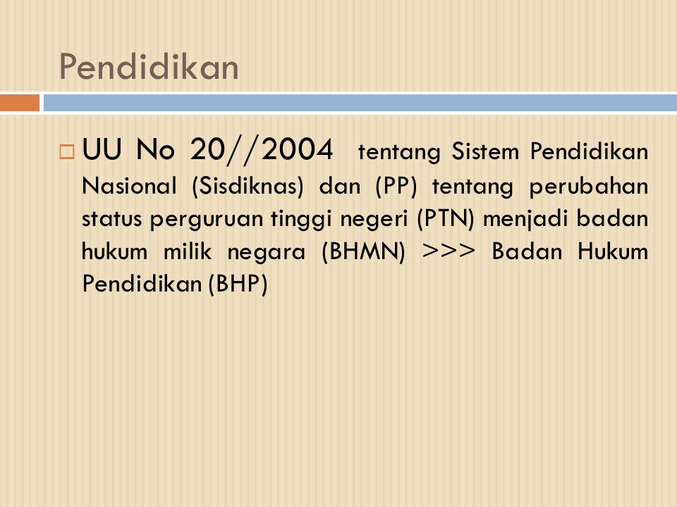 Pendidikan  UU No 20//2004 tentang Sistem Pendidikan Nasional (Sisdiknas) dan (PP) tentang perubahan status perguruan tinggi negeri (PTN) menjadi bad