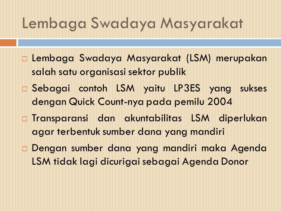 Lembaga Swadaya Masyarakat  Lembaga Swadaya Masyarakat (LSM) merupakan salah satu organisasi sektor publik  Sebagai contoh LSM yaitu LP3ES yang suks