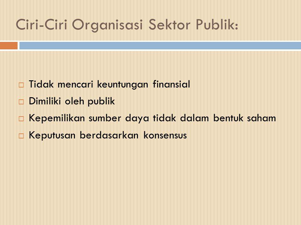 Ciri-Ciri Organisasi Sektor Publik:  Tidak mencari keuntungan finansial  Dimiliki oleh publik  Kepemilikan sumber daya tidak dalam bentuk saham  K