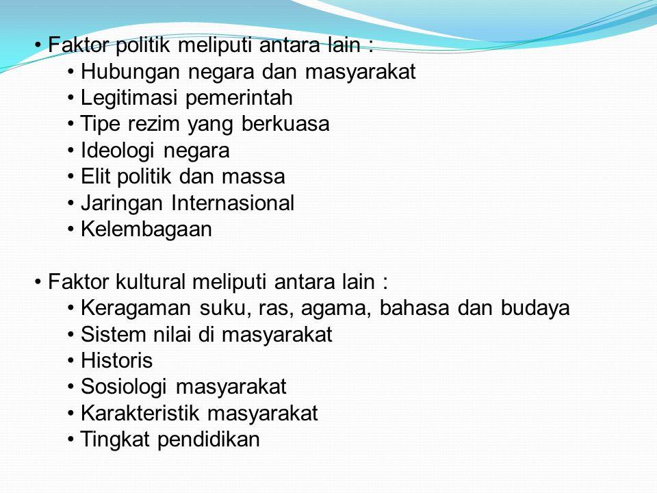Faktor politik meliputi antara lain : Hubungan negara dan masyarakat Legitimasi pemerintah Tipe rezim yang berkuasa Ideologi negara Elit politik dan m