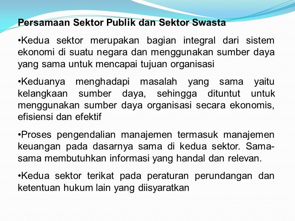 Persamaan Sektor Publik dan Sektor Swasta Kedua sektor merupakan bagian integral dari sistem ekonomi di suatu negara dan menggunakan sumber daya yang
