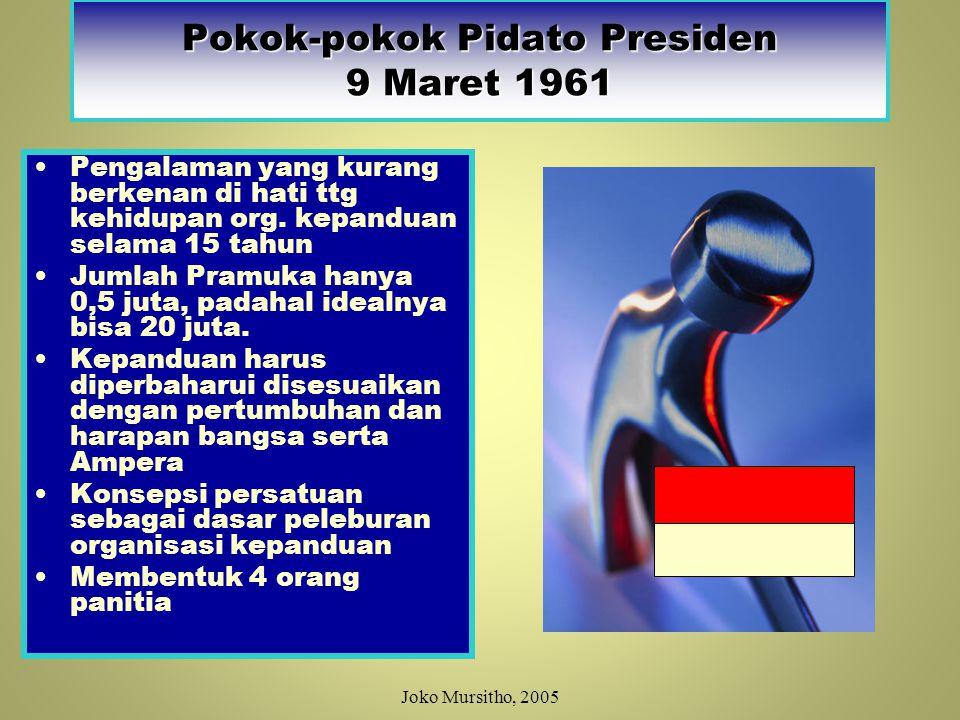 KEPRES NO: 109 TAHUN 1961 30 Maret 1961 Mencabut ketentuan & perijinan mengenai organisasi kepanduan di Indonesia.