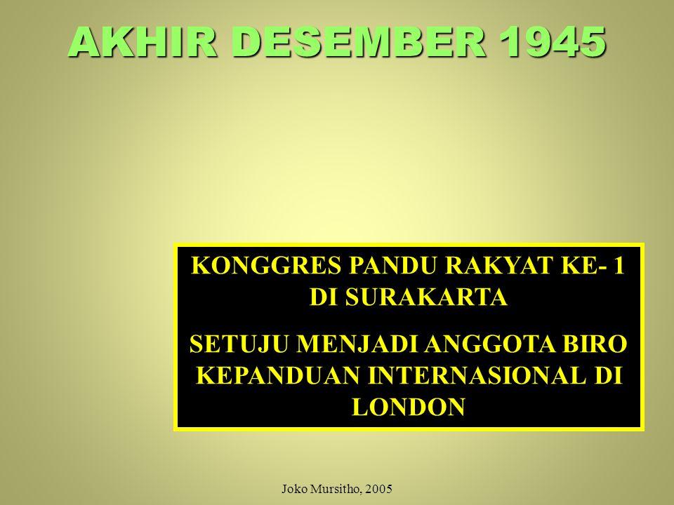 28 Desember 1945 SUARA BULAT MEMBENTUK ORGANISASI KESATUAN KEPANDUAN DENGAN NAMA: PANDU RAKYAT INDONESIA Didasarkan atas: PANCASILA MENURUT RUMUSAN 1.Ketuhanan Yang Maha Esa 2.Perkemanusiaan 3.Kebangsaan 4.Demokrasi/Kedaulatan Rakyat Indonesia 5.Keadilan Sosial Joko Mursitho, 2005