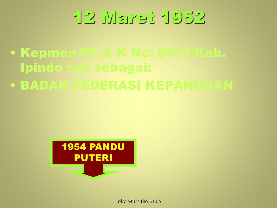 16 September 1951 SEPULUH HARI KEMUDIAN: WAKIL-WAKIL PANDU RAKYAT INDONESIA, HW, AL-IRSYAD, PANDU ISLAM INDONESIA, KEPANDUAN ANGKATAN MUSLIM INDONESIA, PANDU KAHOLIK, PEKERTI (PERSERIKATAN KEPANDUAN TIONGHOA) DAN PERSERIKATAN PANDU-PANDU INDONESIA KONFERENSI MEMBENTUK IPINDO (DIAKUI SBG ANGGOTA WOSM) Joko Mursitho, 2005