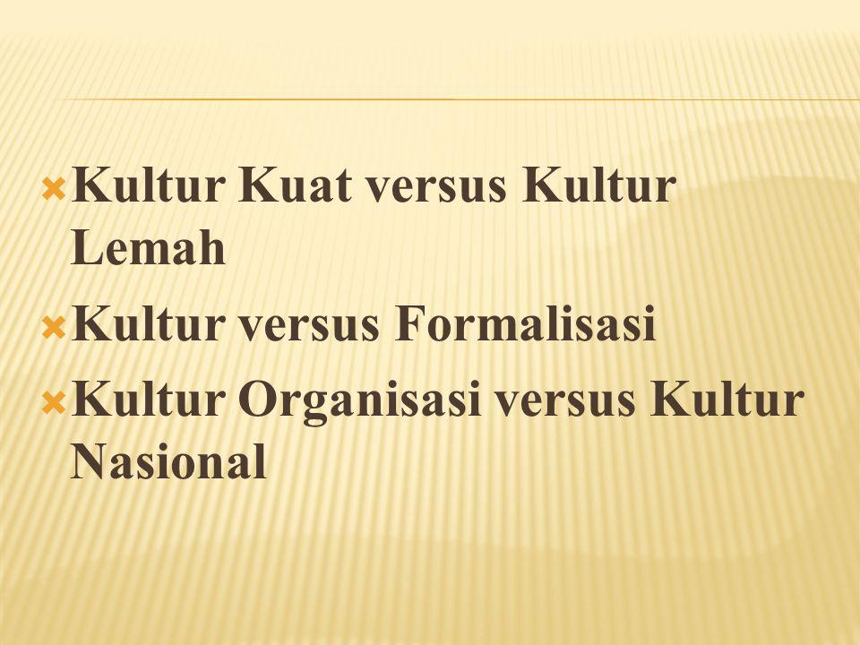  Kultur Kuat versus Kultur Lemah  Kultur versus Formalisasi  Kultur Organisasi versus Kultur Nasional