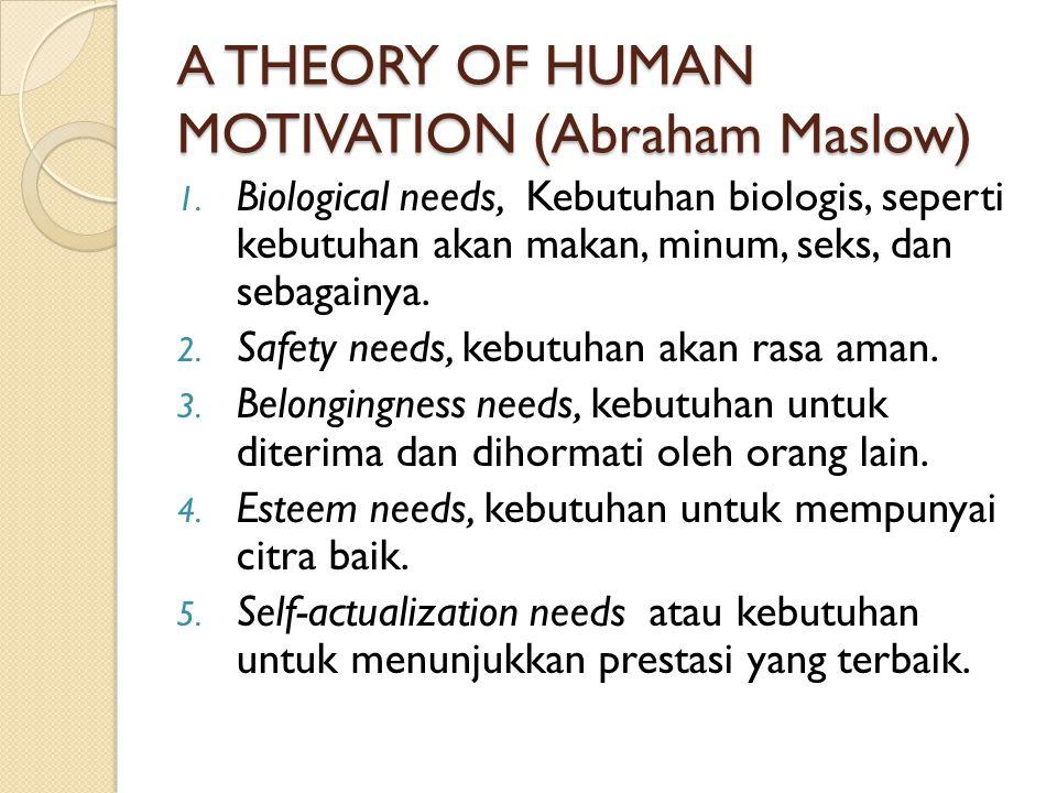 TEORI UNTUK BERPRESTASI (achievement motive) David McClelland, berasumsi bahwa semua kebutuhan adalah karena dipelajari, sehingga kepribadian juaga akan berubah kalau seseorang belajar.