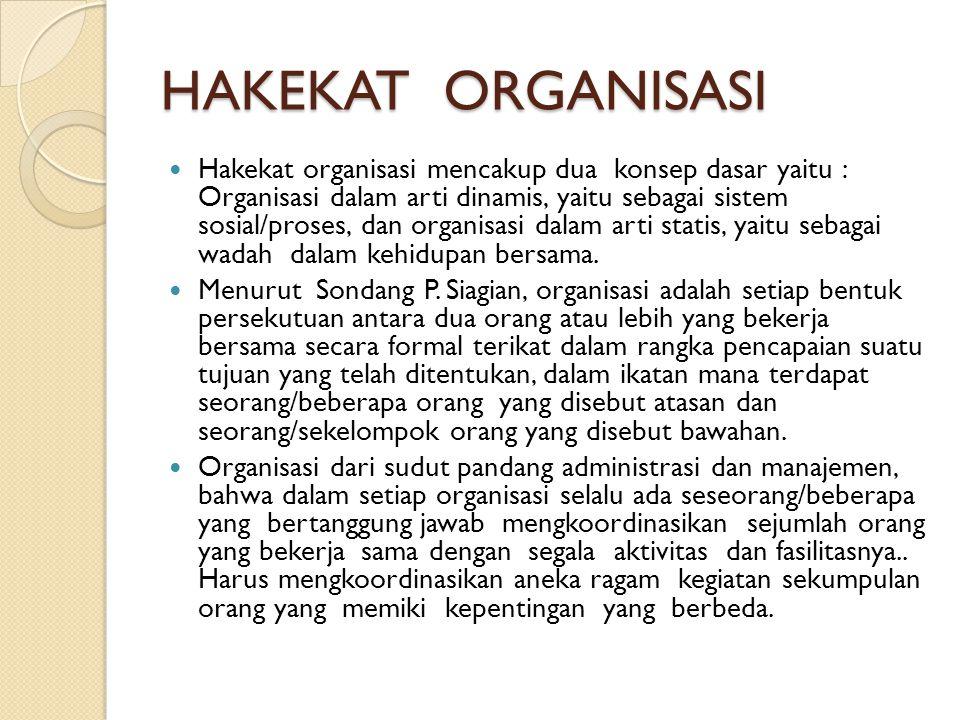 HAKEKAT ORGANISASI (Lanjutan) Organisasi dapat berbentuk perusahaan, devisi, departemen, group atau tim.