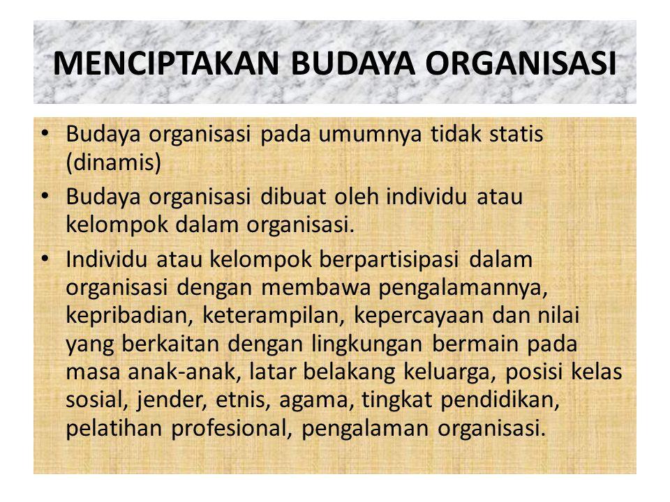 MENCIPTAKAN BUDAYA ORGANISASI Budaya organisasi pada umumnya tidak statis (dinamis) Budaya organisasi dibuat oleh individu atau kelompok dalam organis