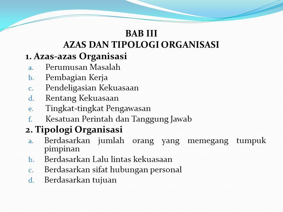 BAB III AZAS DAN TIPOLOGI ORGANISASI 1.Azas-azas Organisasi a.