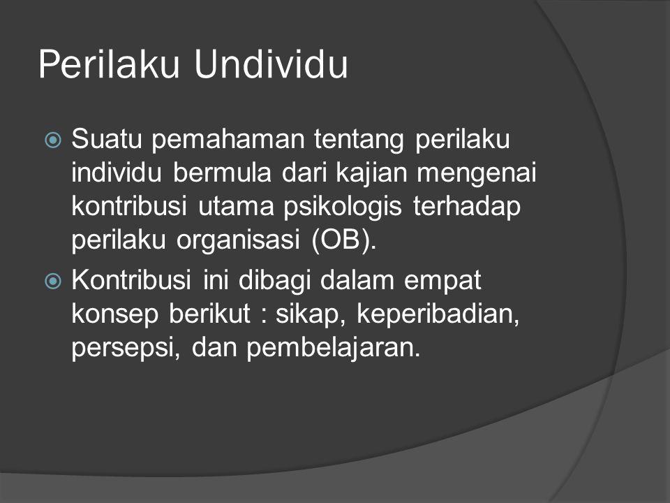 Perilaku Undividu  Suatu pemahaman tentang perilaku individu bermula dari kajian mengenai kontribusi utama psikologis terhadap perilaku organisasi (O