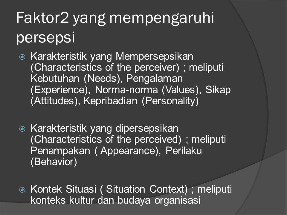 Faktor2 yang mempengaruhi persepsi  Karakteristik yang Mempersepsikan (Characteristics of the perceiver) ; meliputi Kebutuhan (Needs), Pengalaman (Ex