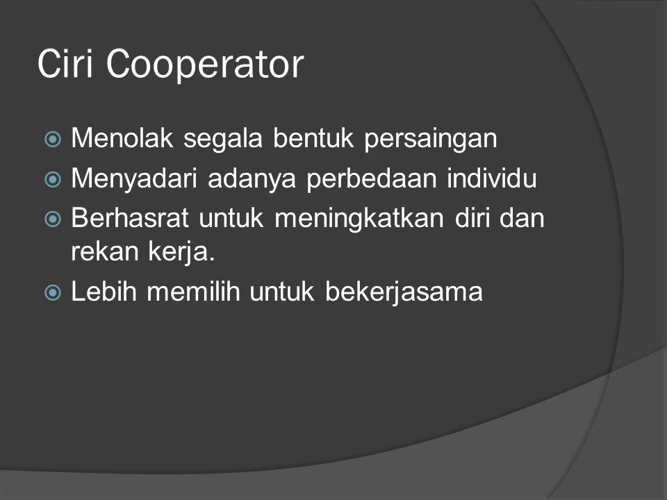Ciri Cooperator  Menolak segala bentuk persaingan  Menyadari adanya perbedaan individu  Berhasrat untuk meningkatkan diri dan rekan kerja.  Lebih