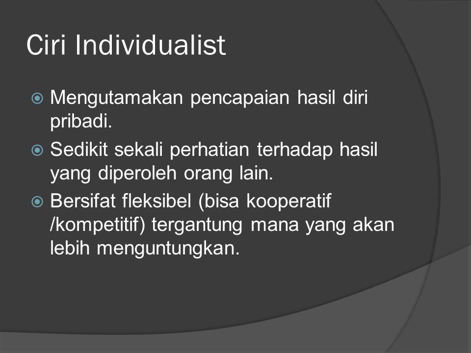 Ciri Individualist  Mengutamakan pencapaian hasil diri pribadi.  Sedikit sekali perhatian terhadap hasil yang diperoleh orang lain.  Bersifat fleks