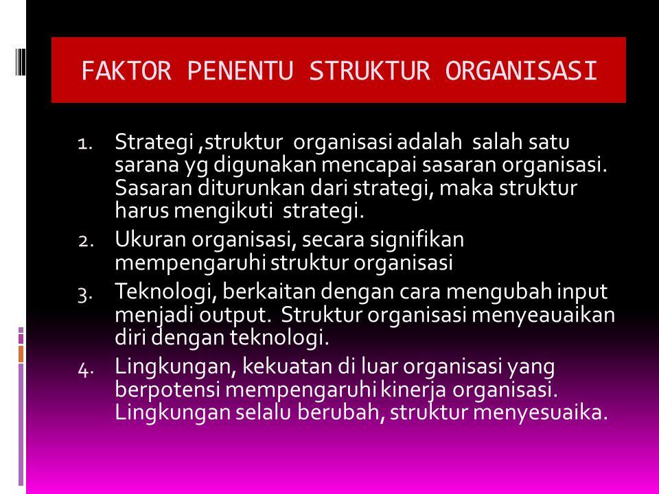 FAKTOR PENENTU STRUKTUR ORGANISASI 1. Strategi,struktur organisasi adalah salah satu sarana yg digunakan mencapai sasaran organisasi. Sasaran diturunk