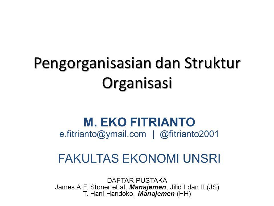 Pengorganisasian dan Struktur Organisasi DAFTAR PUSTAKA James A.F. Stoner et.al, Manajemen, Jilid I dan II (JS) T. Hani Handoko, Manajemen (HH) M. EKO