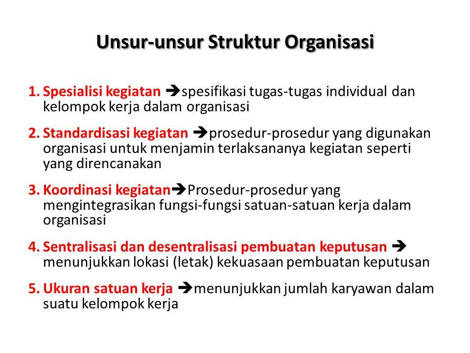 Unsur-unsur Struktur Organisasi 1.Spesialisi kegiatan  spesifikasi tugas-tugas individual dan kelompok kerja dalam organisasi 2.Standardisasi kegiata