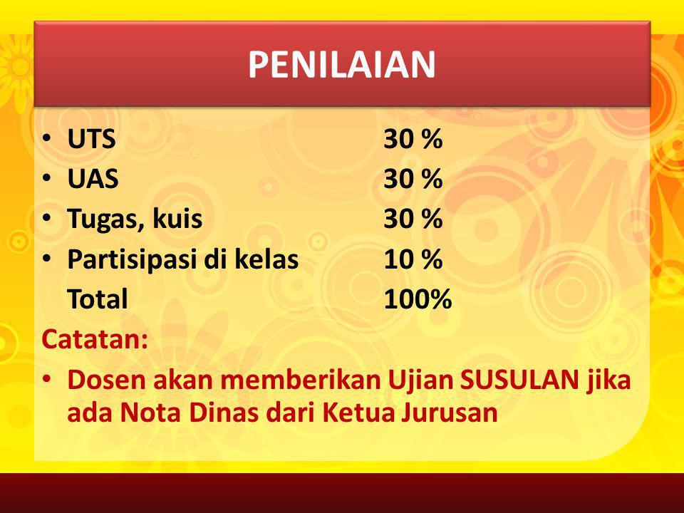 PENILAIAN UTS 30 % UAS 30 % Tugas, kuis30 % Partisipasi di kelas10 % Total 100% Catatan: Dosen akan memberikan Ujian SUSULAN jika ada Nota Dinas dari