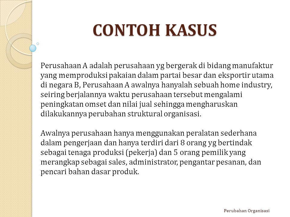 CONTOH KASUS Perubahan Organisasi Perusahaan A adalah perusahaan yg bergerak di bidang manufaktur yang memproduksi pakaian dalam partai besar dan eksp