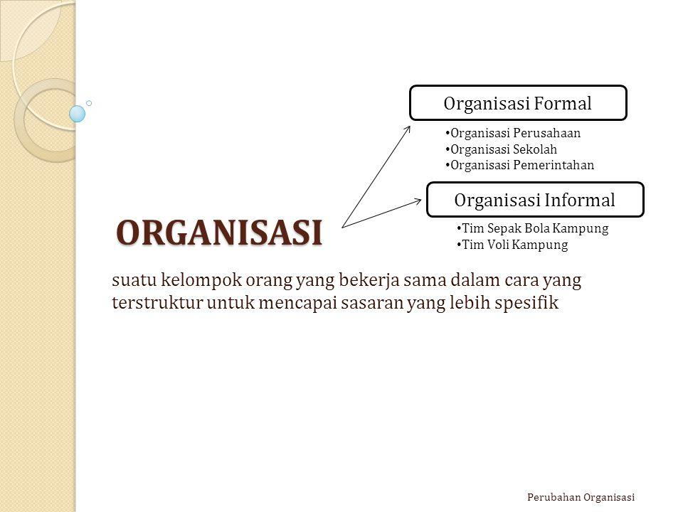 PERUBAHAN ORGANISASI Usaha sistematik untuk mendesain ulang suatu organisasi dengan cara tertentu yang memungkinkan organisasi tersebut untuk beradaptasi terhadap perubahan yang terjadi pada lingkungan, demi mencapai visi dan tujuan baru yg ditentukan.