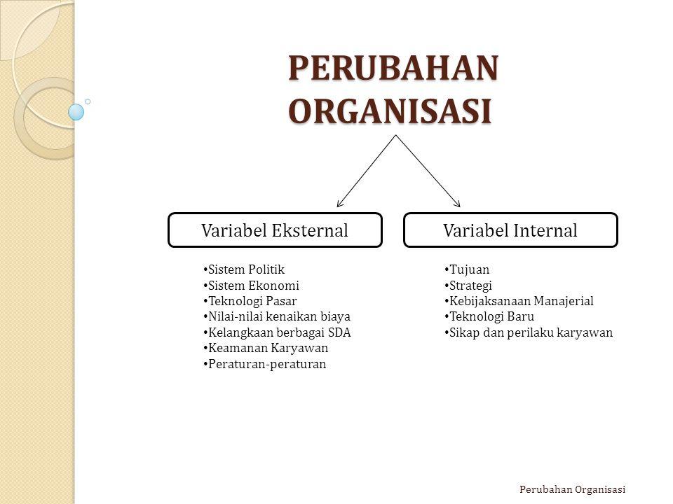 PERUBAHAN ORGANISASI Perubahan Organisasi Variabel EksternalVariabel Internal Sistem Politik Sistem Ekonomi Teknologi Pasar Nilai-nilai kenaikan biaya