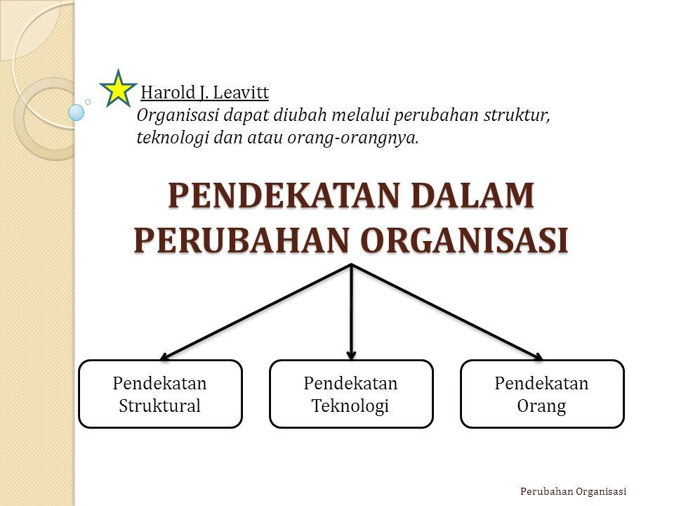 PENDEKATAN DALAM PERUBAHAN ORGANISASI Perubahan Organisasi Pendekatan Struktural Pendekatan Teknologi Harold J. Leavitt Organisasi dapat diubah melalu