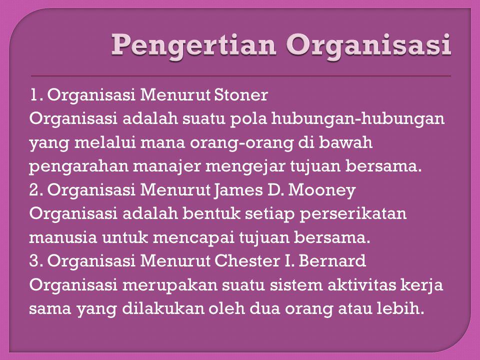 1. Organisasi Menurut Stoner Organisasi adalah suatu pola hubungan-hubungan yang melalui mana orang-orang di bawah pengarahan manajer mengejar tujuan