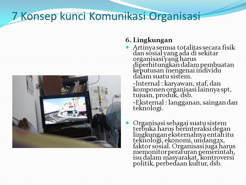 7 Konsep kunci Komunikasi Organisasi 6. Lingkungan Artinya semua totalitas secara fisik dan sosial yang ada di sekitar organisasi yang harus diperhitu