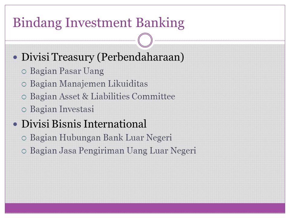 Bindang Investment Banking Divisi Treasury (Perbendaharaan)  Bagian Pasar Uang  Bagian Manajemen Likuiditas  Bagian Asset & Liabilities Committee 