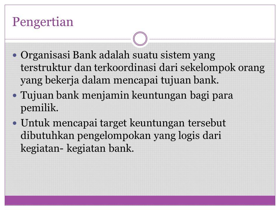 Pengertian Organisasi Bank adalah suatu sistem yang terstruktur dan terkoordinasi dari sekelompok orang yang bekerja dalam mencapai tujuan bank. Tujua