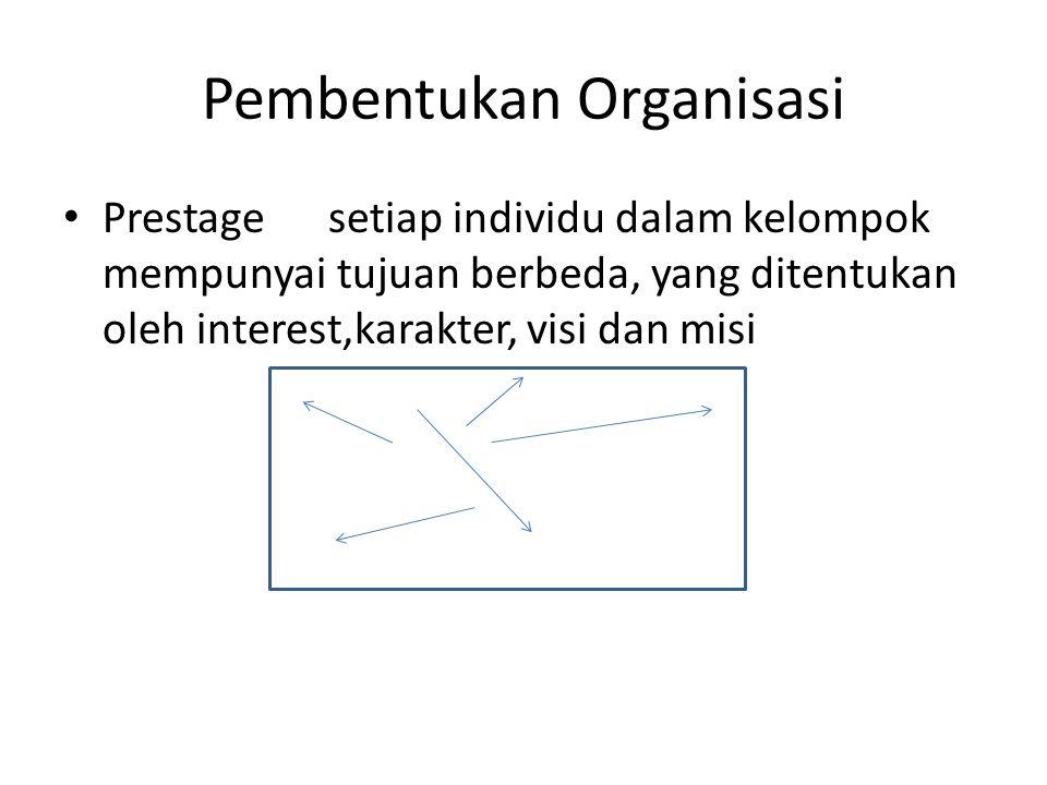 Pembentukan Organisasi Prestage setiap individu dalam kelompok mempunyai tujuan berbeda, yang ditentukan oleh interest,karakter, visi dan misi