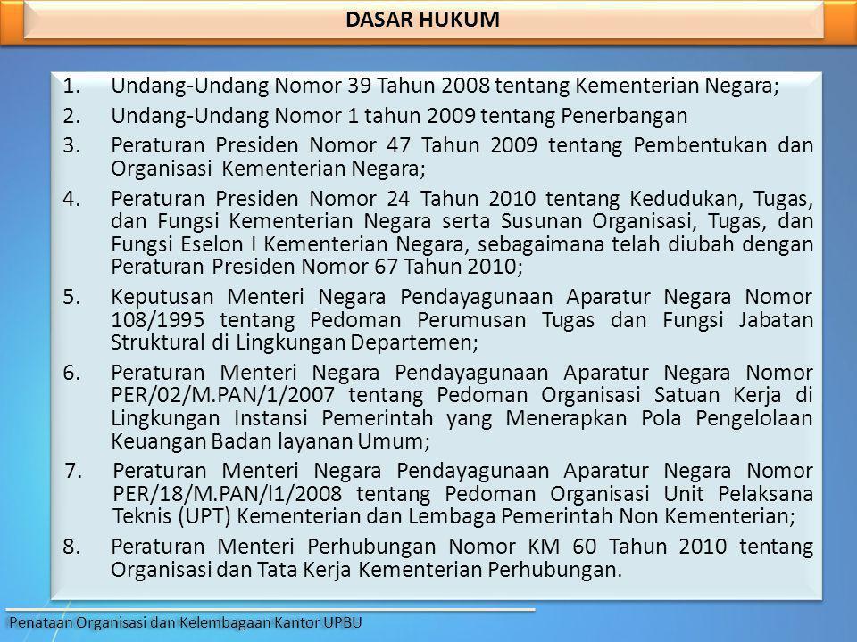 1.Undang-Undang Nomor 39 Tahun 2008 tentang Kementerian Negara; 2.Undang-Undang Nomor 1 tahun 2009 tentang Penerbangan 3.Peraturan Presiden Nomor 47 T