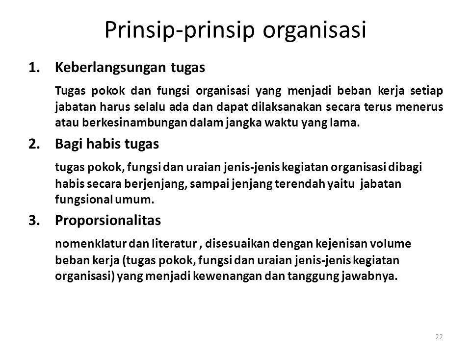 Prinsip-prinsip organisasi 1.Keberlangsungan tugas Tugas pokok dan fungsi organisasi yang menjadi beban kerja setiap jabatan harus selalu ada dan dapa