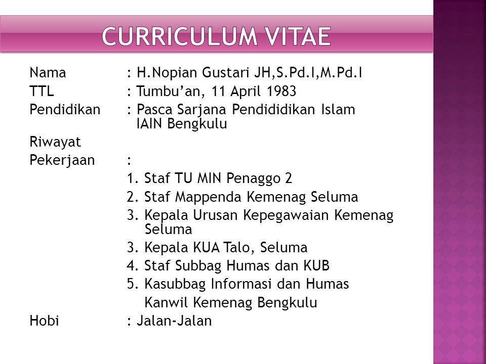 Nama : H.Nopian Gustari JH,S.Pd.I,M.Pd.I TTL: Tumbu'an, 11 April 1983 Pendidikan : Pasca Sarjana Pendididikan Islam IAIN Bengkulu Riwayat Pekerjaan: 1.
