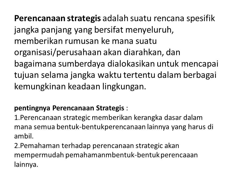 Ciri-Ciri Perencanaan Strategis diantaranya yaitu: -Memfokuskan pada pengidentifikasian dan pemecahan isu-isu strategis -Menekankan penilaian terhadap lingkungan baik eksternal dan internal -Memperkirakan hal-hal baru, diskontinuitas, penuh kejutan (Ansoff, 1980) -Berorintasi pada tindakan, bersifat partisipatif, lebih empati terhadap kelemahan, kekuatan, hambatan, peluang suatu komunitas (Kaufman & Jacobs, 1987) -Efektif sebagai penghubung antara kebijakan yang kaku dengan tindakan nyata (Kraemer,1973) -Melibatkan peran-peran penting pembuat kebijakan -Mensyaratkan visi yang komprehensif -Menjawab pertanyaan dasar.