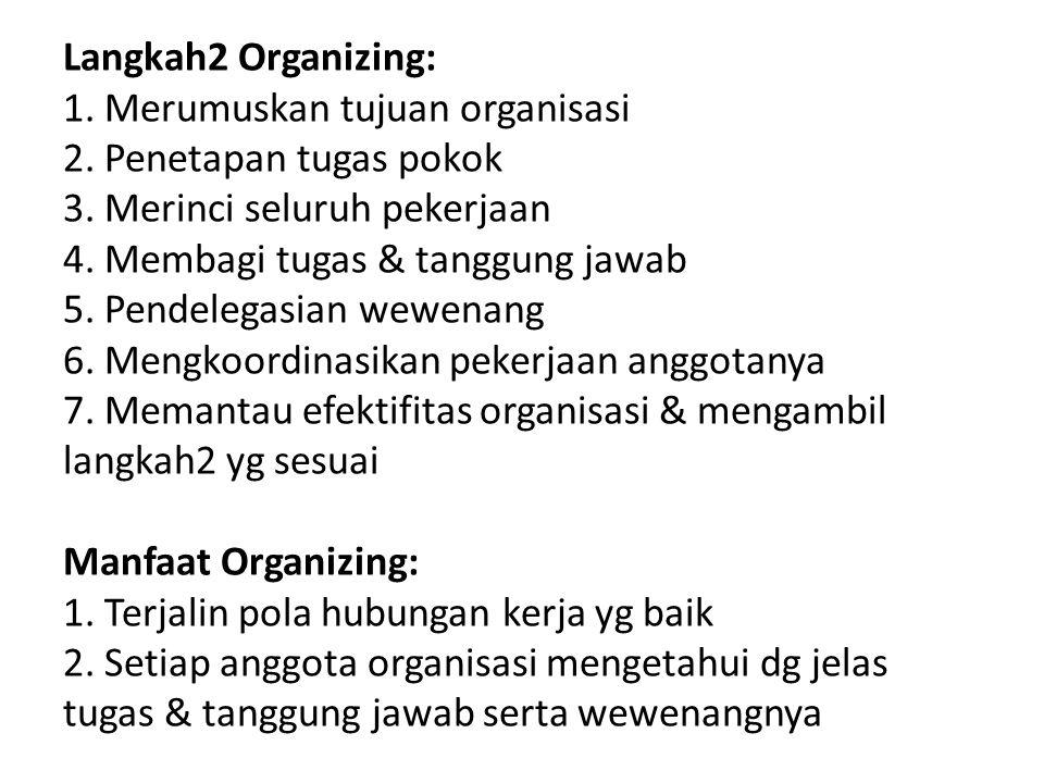 Langkah2 Organizing: 1.Merumuskan tujuan organisasi 2.