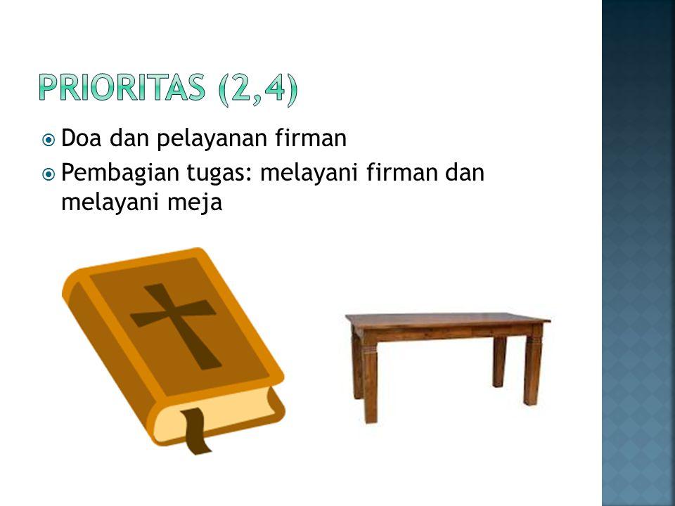  Doa dan pelayanan firman  Pembagian tugas: melayani firman dan melayani meja