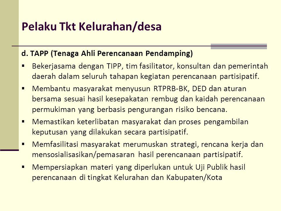 Pelaku Tkt Kelurahan/desa d. TAPP (Tenaga Ahli Perencanaan Pendamping)  Bekerjasama dengan TIPP, tim fasilitator, konsultan dan pemerintah daerah dal
